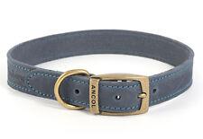 Ancol Timberwolf Leather Dog Collar Blue 19mm X36-46cm