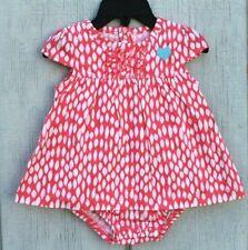 NEW Child of Mine Carter's Polka Dot Dress Romper Bodysuit 0-3m Heart Baby Girls