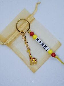 Personalised Giraffe Keyring, giraffe gifts, giraffe lover, safari gift