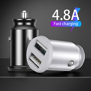 4.8A Fast Dual Car Charger Twin USB Cigarette Lighter Socket Adapter Plug Mini