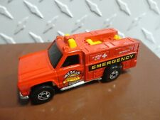 Loose Hot Wheels Red Emergency Rescue Squad Truck w/Blackwall Wheels