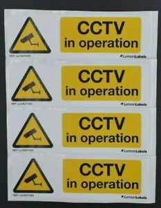 CCTV In Operation Sign Stickers Pack 4 195mm x 60mm Marine Grade material