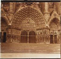 Cattedrale Da Bourges Portail Francia Placca Da Lente Stereo Positive Vintage