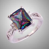 Size L N P R T V Rainbow & White Topaz Gemstone Silver Ring Emerald Cut Dazzling