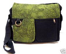 Crossbody Purse Green Black Floral Print Boho Shoulder Purse Messenger Bag