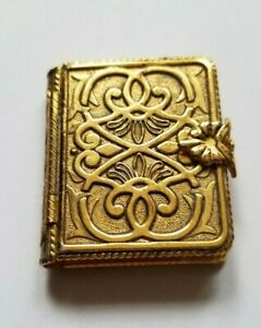 Avon Solid Perfume Compact Memory Book 1971 Vintage Gold Tone Not Empty
