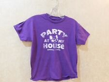 """Chuck E. Cheese T-Shirt Purple """"Party at My House""""  Kid Size Youth S/M  ___ R7-1"""