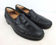 DAVID EDEN Slip On Genuine Teju Lizard & Leather Loafers Black Sz 8 M D NICE