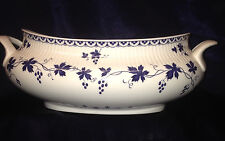 ROYAL DOULTON YORKTOWN OVAL VEGETABLE BOWL NO LID BLUE GRAPEVINE RIBBED