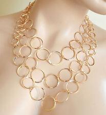 COLLANA Girocollo donna gioiello Cascata di Cerchi color ORO Bijoux Necklace