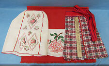 Vintage Appliance Cover & Apron Red Table Cloth Place Mat Lot of 4