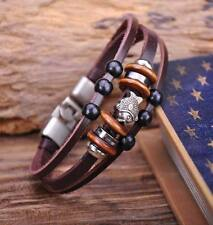 G70 Silver Surfer Hemp Leather Wood Beads Wristband Bracelet Cuff Cute Fish