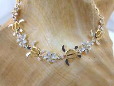 11mm Hawaiian 2-T Silver 14k Yellow Gold Honu Turtle Plumeria CZ Bracelet 7.5""