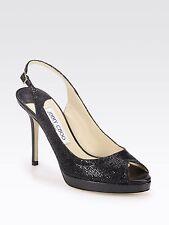 JIMMY CHOO NOVA Black Glitter Peep Toe Platform Heels Size Uk 4.5 Eu 37.5
