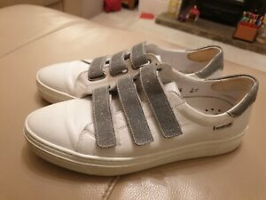 Ladies Mephisto white / silver Leather Shoes Size UK 7 US 9.5