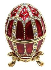 Faberge Egg Trinket Box Easter Egg Jewelry Box with Crystals, Red Color