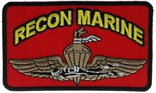 Recon Marine 4 Inch USMC Red Cap Hat Embroidered Patch F1D8L