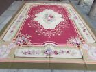 Old Hand Made French Design Wool Red Green Original Large Aubusson 416X300cm
