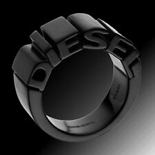 DIESEL MEN'S BLACK LOGO STAINLESS STEEL RING DX0046  Sz. 8
