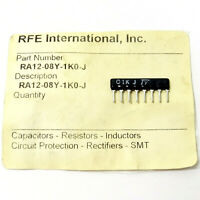 20x RFE: 1K OHM 5% SIP-8 RESISTOR Network Array #RA12-08Y-1K0-J Isolated NEW NOS