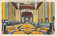Omaha Nebraska 1942 Postcard Main Waiting Room Union Station