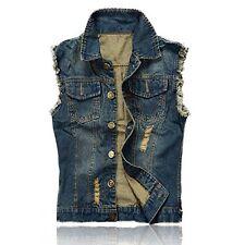 NASKY Mens Fit Retro Ripped Jeans Demin Jacket Waistcoat Top Vest Size Medium