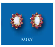 Ruby earrings Opal earrings ruby and opal Studs Cluster Yellow Gold earrings