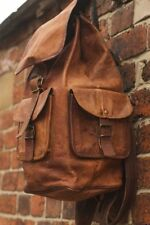 "16""Real genuine Leather Men's Backpack Satchel Brown Vintage Bag laptop Rusksack"