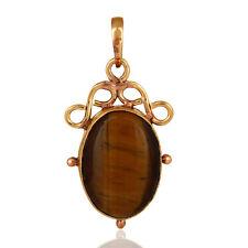 Handmade 18k Gold Plated Tigers Eye Beautiful Pendant Women Fashion Jewelry