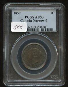 1859 Canada  Large Cent - Narrow 9 - PCGS AU53