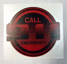 "Emergency Decal, Call 9-1-1, Firefighter, EMS, EMT, Reflective 3 1/4"" Red, #EM56"
