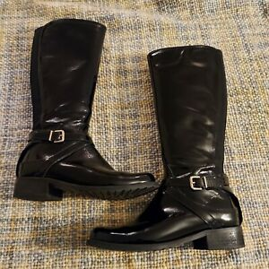 Clarks Nessa Clare Size 5 Black Patent Leather Knee Boots Buckle stretch panel