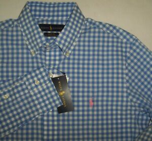 NWT Ralph Lauren BLUE/WHITE GINGHAM CHECK Plaid S Pink Polo Pony COTTON STRETCH