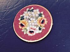 VINTAGE ITALIAN RED MICRO MOSAIC with FLOWERS BROOCH PIN SIGNED ITALY