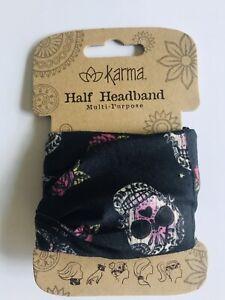 SUGAR SKULLS Medium Half headband by Karma Gifts boho bandeau natural life buff