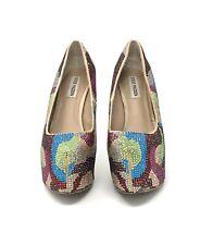 STEVE MADDEN Dyvinal platform pumps heels rainbow party shoes rhinestones 8.5