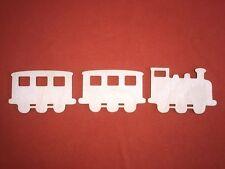 1 train & 2 wagons avec Windows en bois forme de plaques plaine pendaison Craft tag