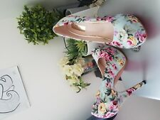 Women's High Heels Fashion Floral Print Cotton Shoes Platform Pumps AU Size G028