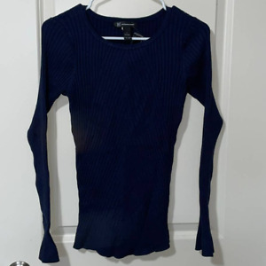 INC International Concepts Navy Blue Stretch Long Bell Sleeve Shirt Size Large