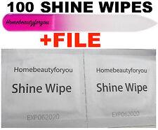 100 SHINE WIPES /BOX-  GEL POLISH / NAIL GEL -STICKY RESIDUE REMOVAL + FREE FILE