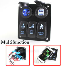 Boat RV Switch Panel 3 Gang LED Rocker Switch Circuit Breakers Pretty Waterproof
