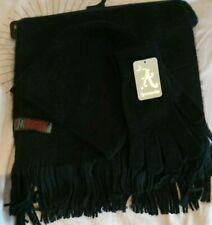 Monsoon Accessorize Tassels Scarf Beanie Hat Gloves Set Black Bnwt