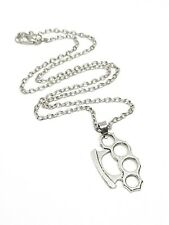 "Knuckle Duster Pendant Necklace 18"" Silver Tone Chain in Gift Bag"