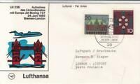 Lufthansas Boeing jet  Bremen  london 1965 air mail flight stamps cover ref19769