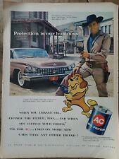 1958 AC oil filter Dale Robertson  TV Zorro Buick car vintage original ad