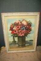 1920's FLORAL POPPIES PRINT CHIPPY CREAMY WOOD FRAME FRENCH FARMHOUSE ANTIQUE