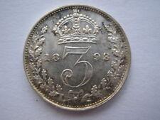1893 Veilied Head silver Threepence A UNC