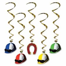 Spring Horse Racing Melbourne Cup Hanging Decorations - Jockey Helmet Whirls 5pk