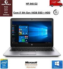 HP 840 G2 Core i7 5th Gen 16GB 128GB SSD 750GB HDD Webcam HD 5500 Windows 10