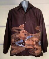 VTG Tori Richard Brown Blue Wave Print Long Sleeve Shirt~S~Mint Condition